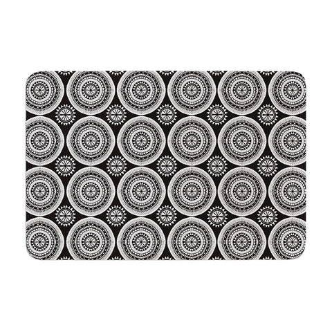 "Nandita Singh ""Circles"" Black White Memory Foam Bath Mat - Outlet Item"