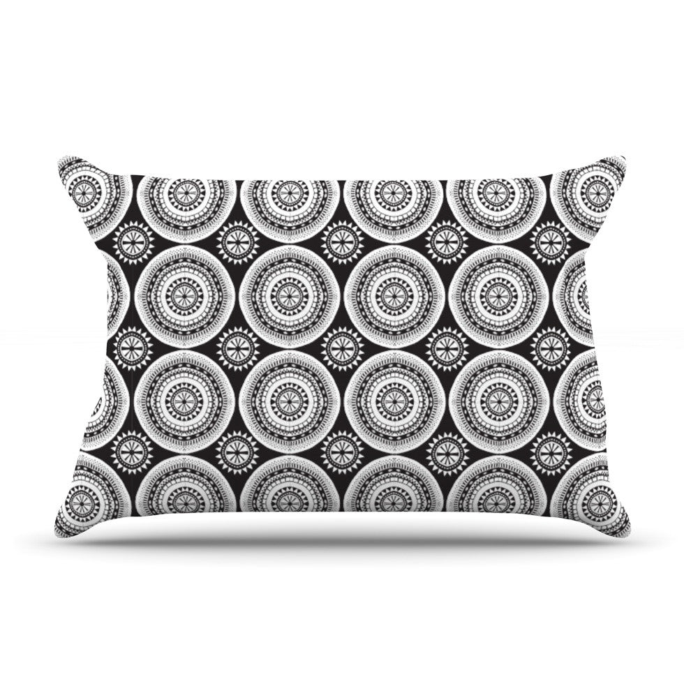 "Nandita Singh ""Circles"" Black White Pillow Sham - KESS InHouse"