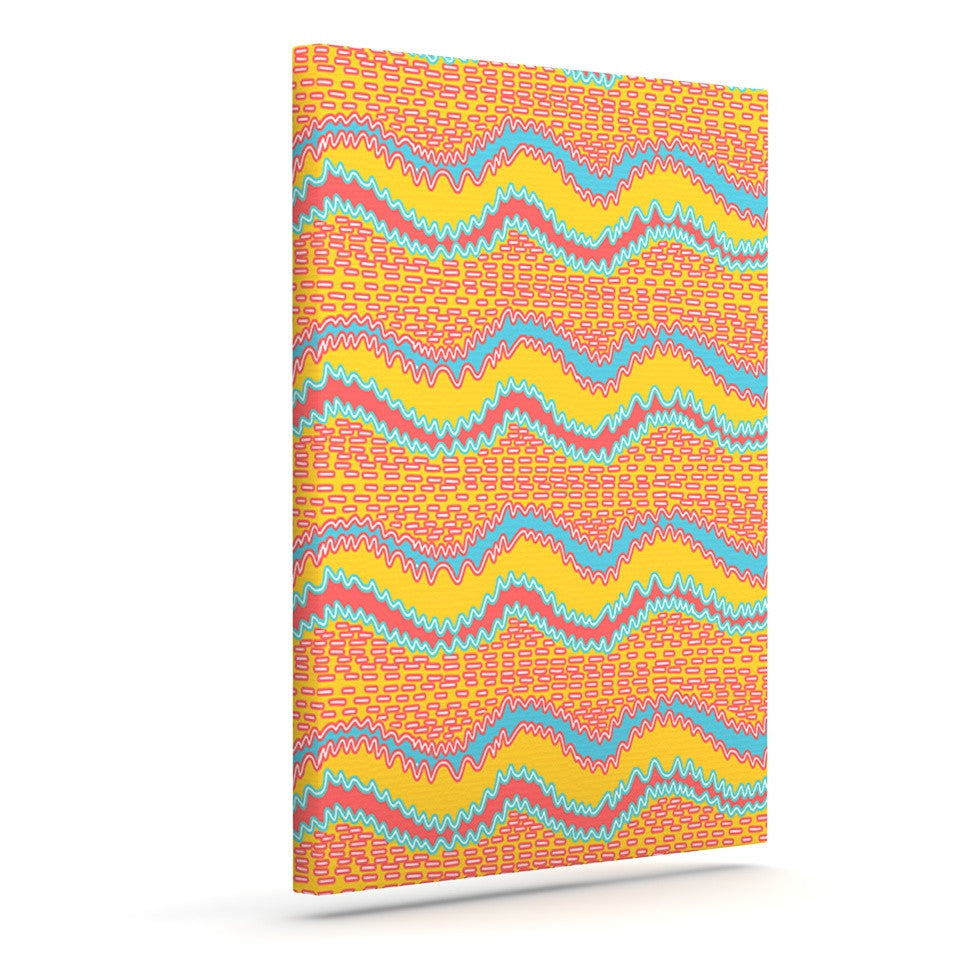 "Nandita Singh ""Pink Waves"" Orange Yellow Outdoor Canvas Wall Art - KESS InHouse"
