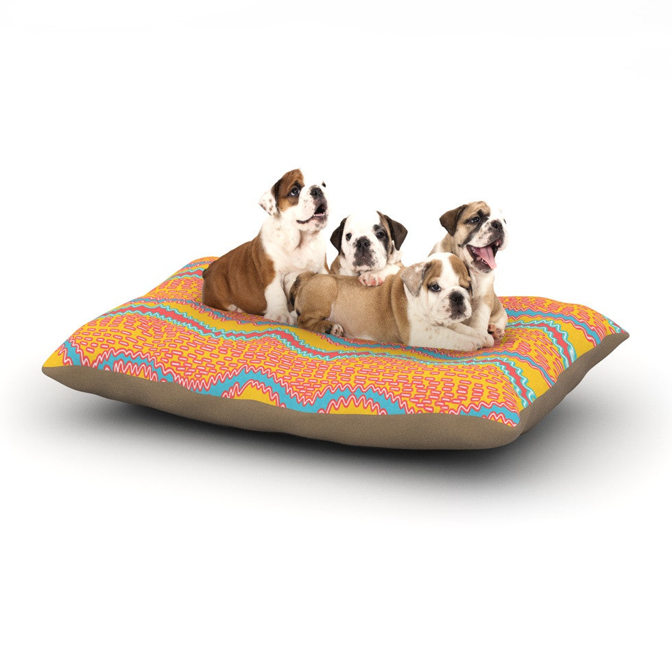 "Nandita Singh ""Pink Waves"" Orange Yellow Dog Bed - KESS InHouse  - 1"