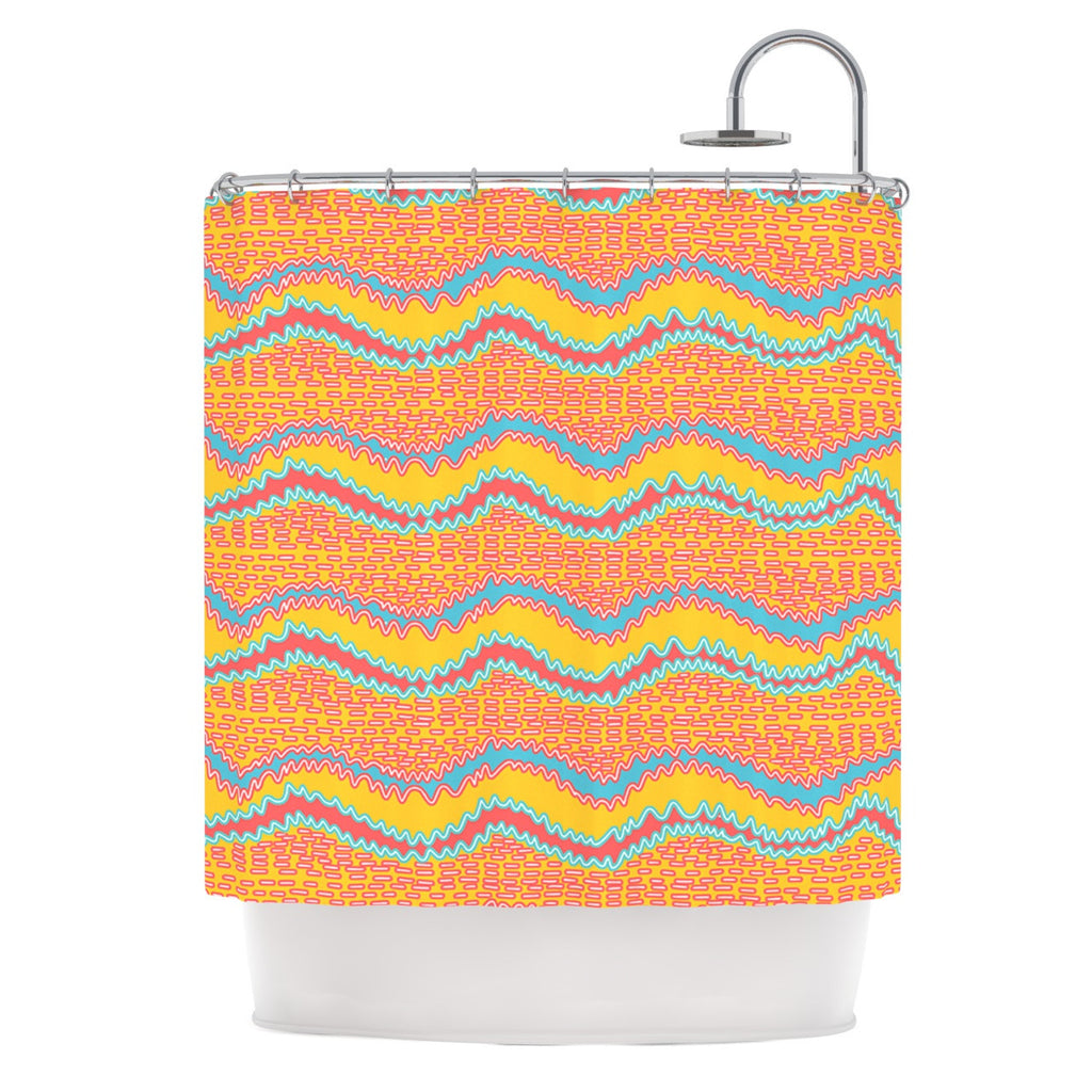 "Nandita Singh ""Pink Waves"" Orange Yellow Shower Curtain - KESS InHouse"