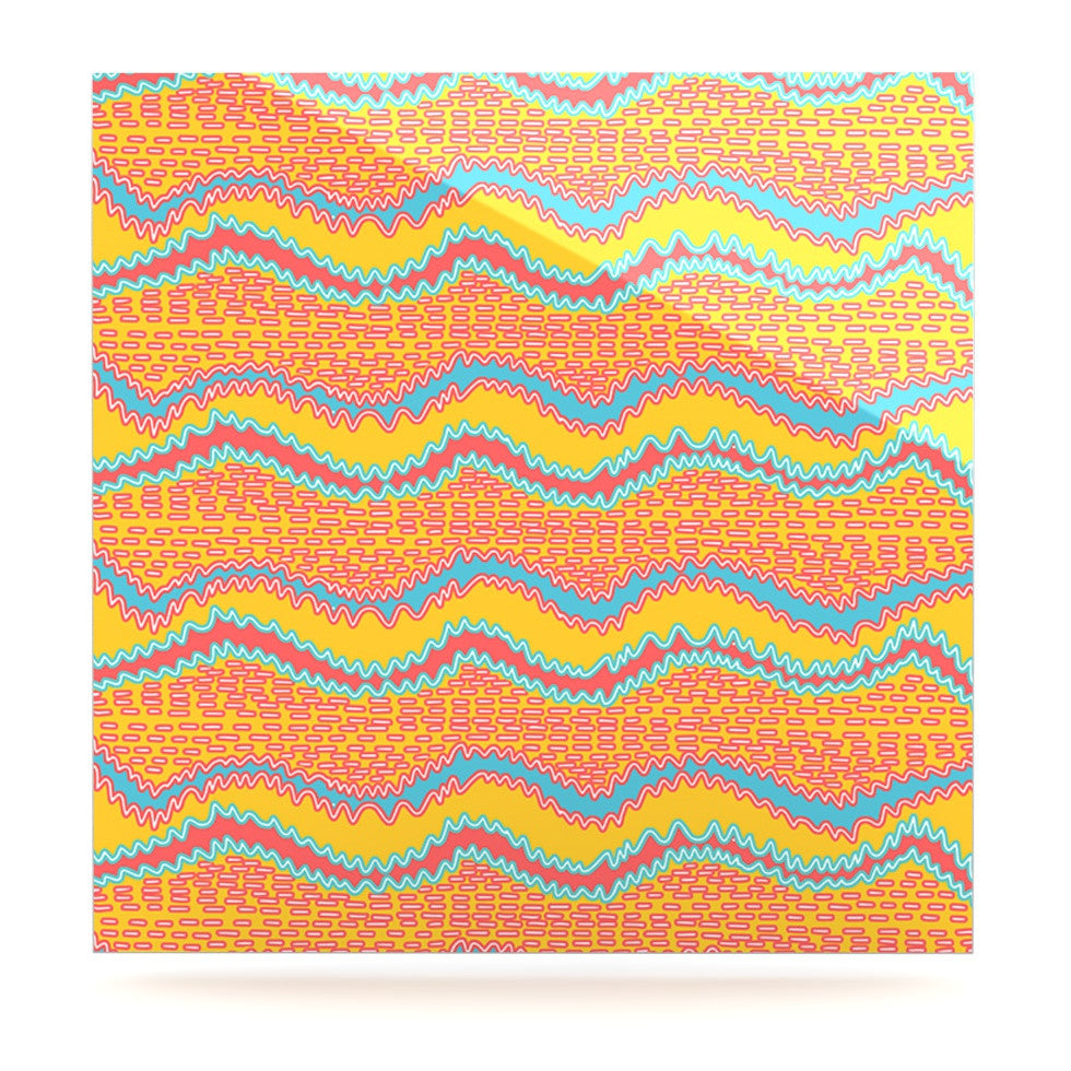 "Nandita Singh ""Pink Waves"" Orange Yellow Luxe Square Panel - KESS InHouse  - 1"