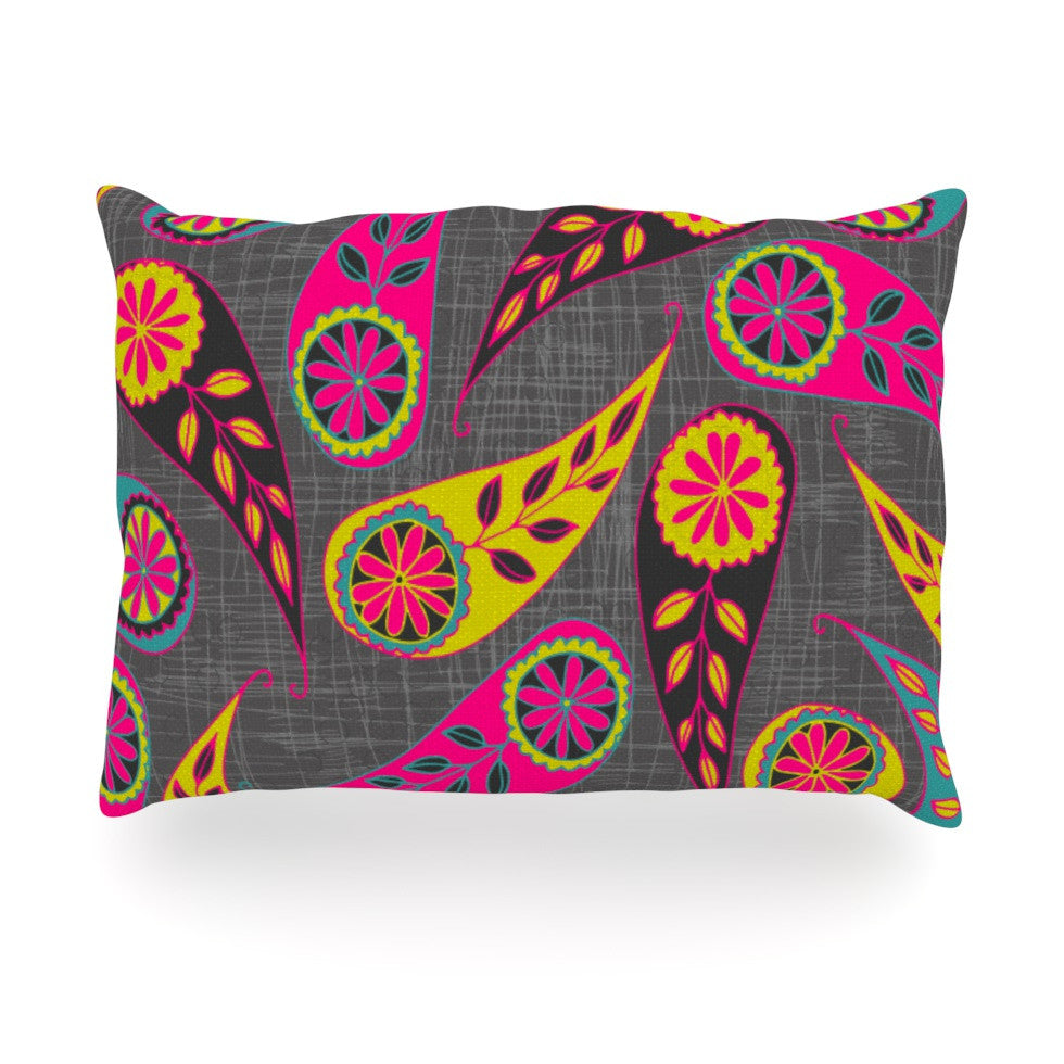 "Nandita Singh ""Bohemian II"" Pink Yellow Oblong Pillow - KESS InHouse"