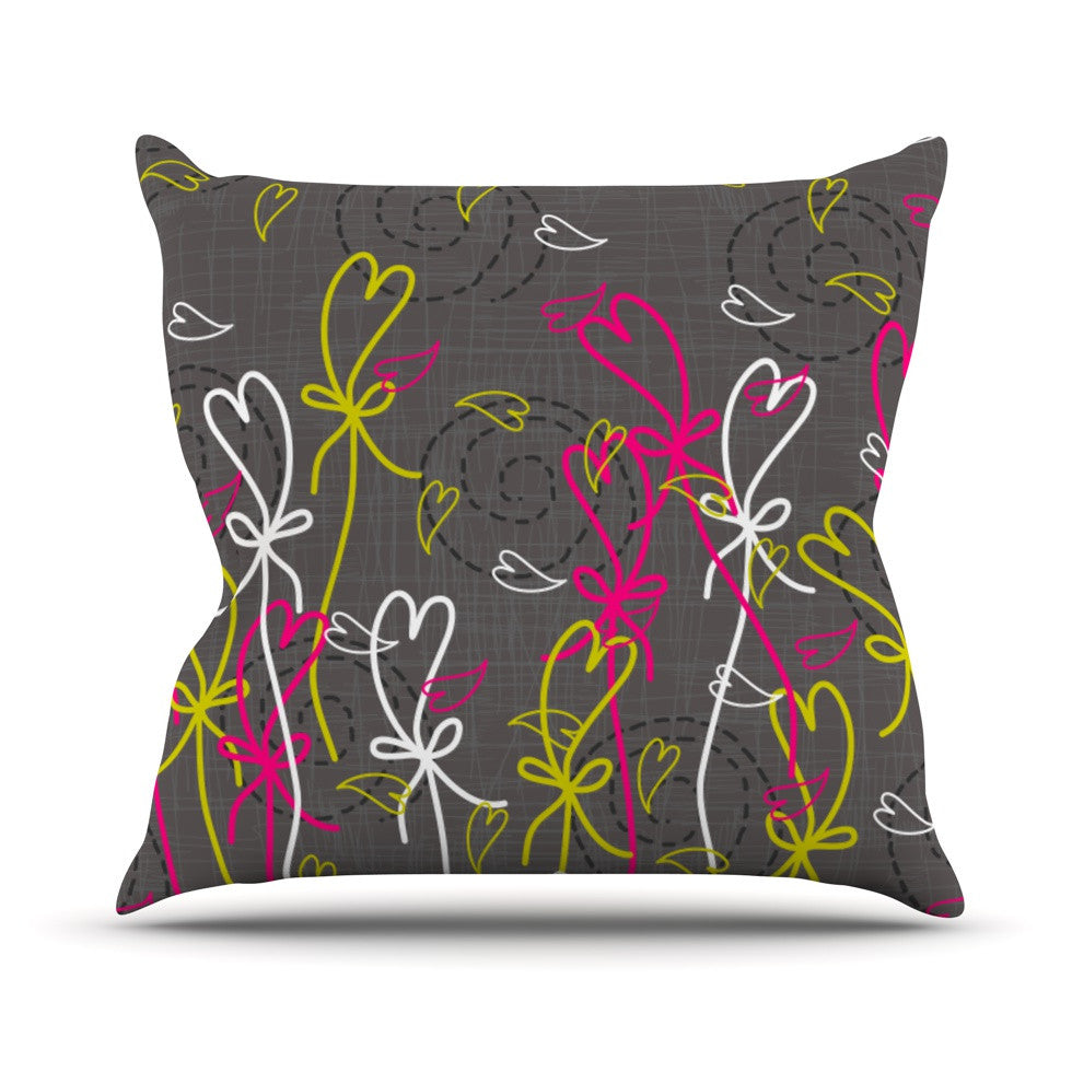 "Nandita Singh ""Bohemian III"" Gray Pink Outdoor Throw Pillow - KESS InHouse  - 1"