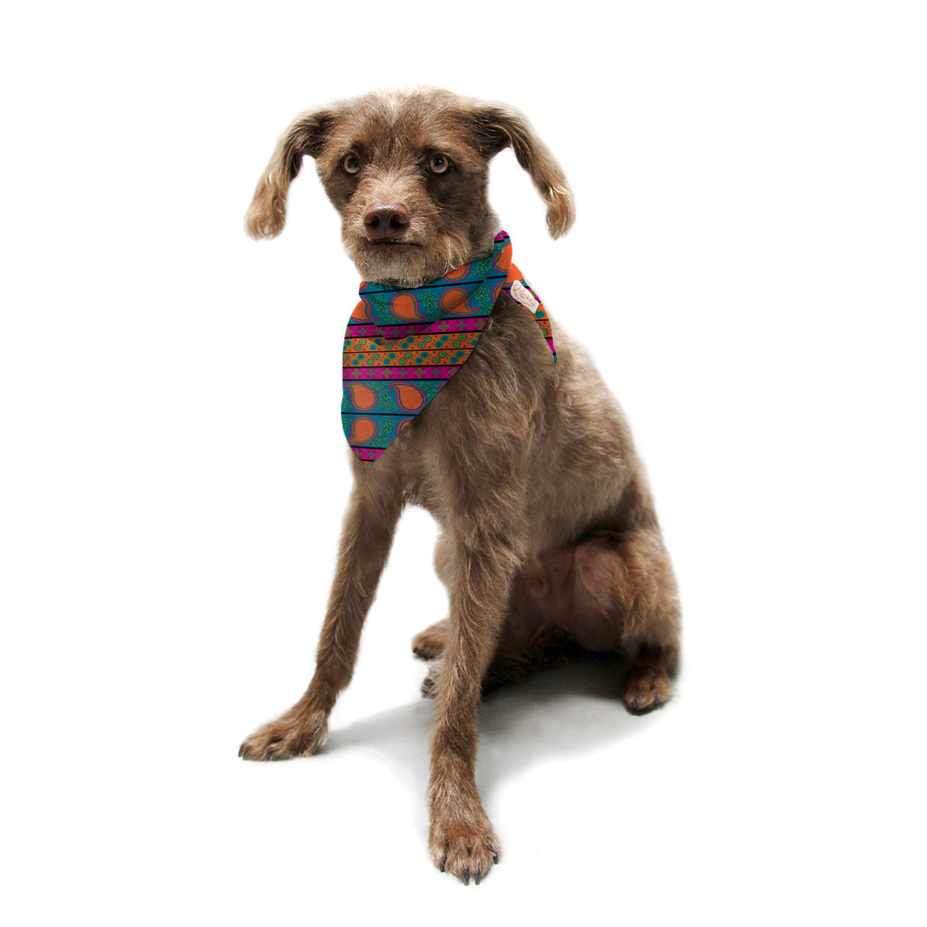 "Nandita Singh ""Bohemian V"" Orange Blue Pet Bandana - KESS InHouse  - 1"