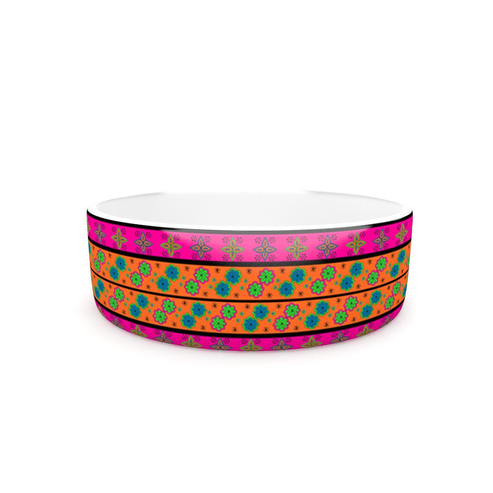 "Nandita Singh ""Bohemian V"" Orange Blue Pet Bowl - KESS InHouse"