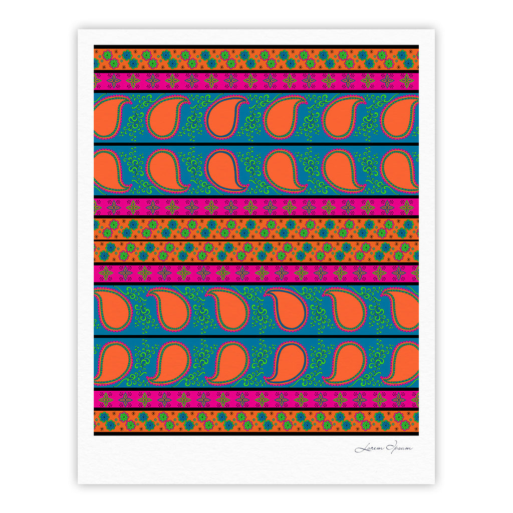 "Nandita Singh ""Bohemian V"" Orange Blue Fine Art Gallery Print - KESS InHouse"