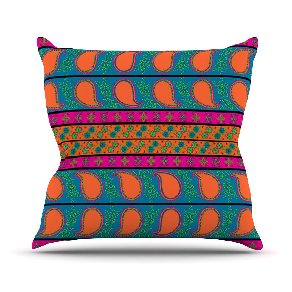 "Nandita Singh ""Bohemian V"" Orange Blue Throw Pillow - KESS InHouse  - 1"