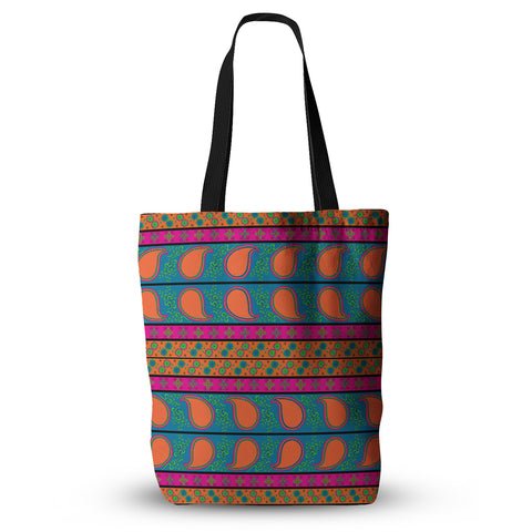 "Nandita Singh ""Bohemian V"" Orange Blue Everything Tote Bag - KESS InHouse  - 1"