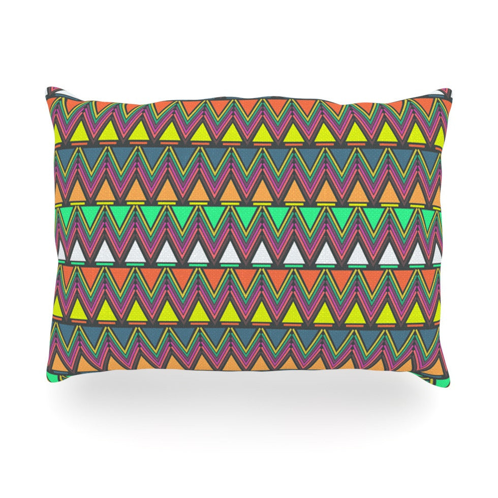 "Nandita Singh ""Pattern Play"" Rainbow Chevron Oblong Pillow - KESS InHouse"