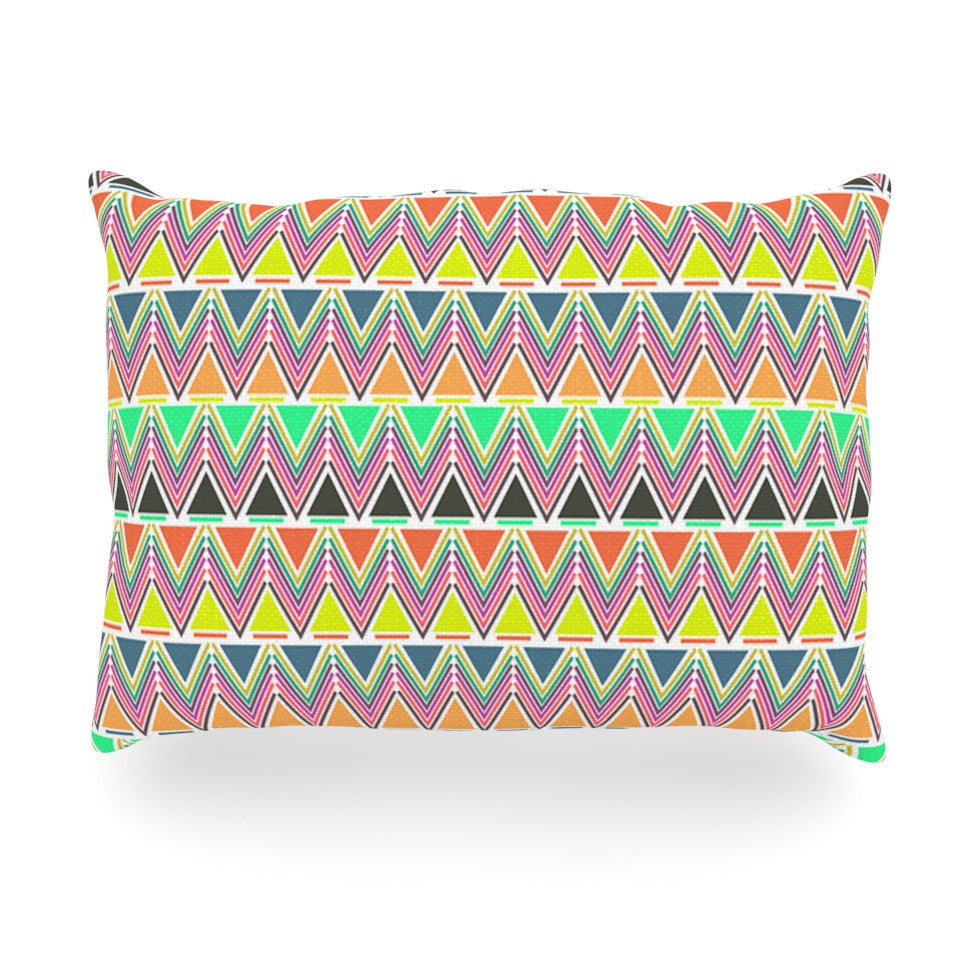 "Nandita Singh ""Pattern Play Multi"" Rainbow Chevron Oblong Pillow - KESS InHouse"