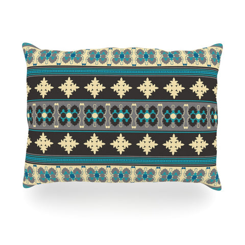 "Nandita Singh ""Borders Blue"" Teal Yellow Oblong Pillow - KESS InHouse"