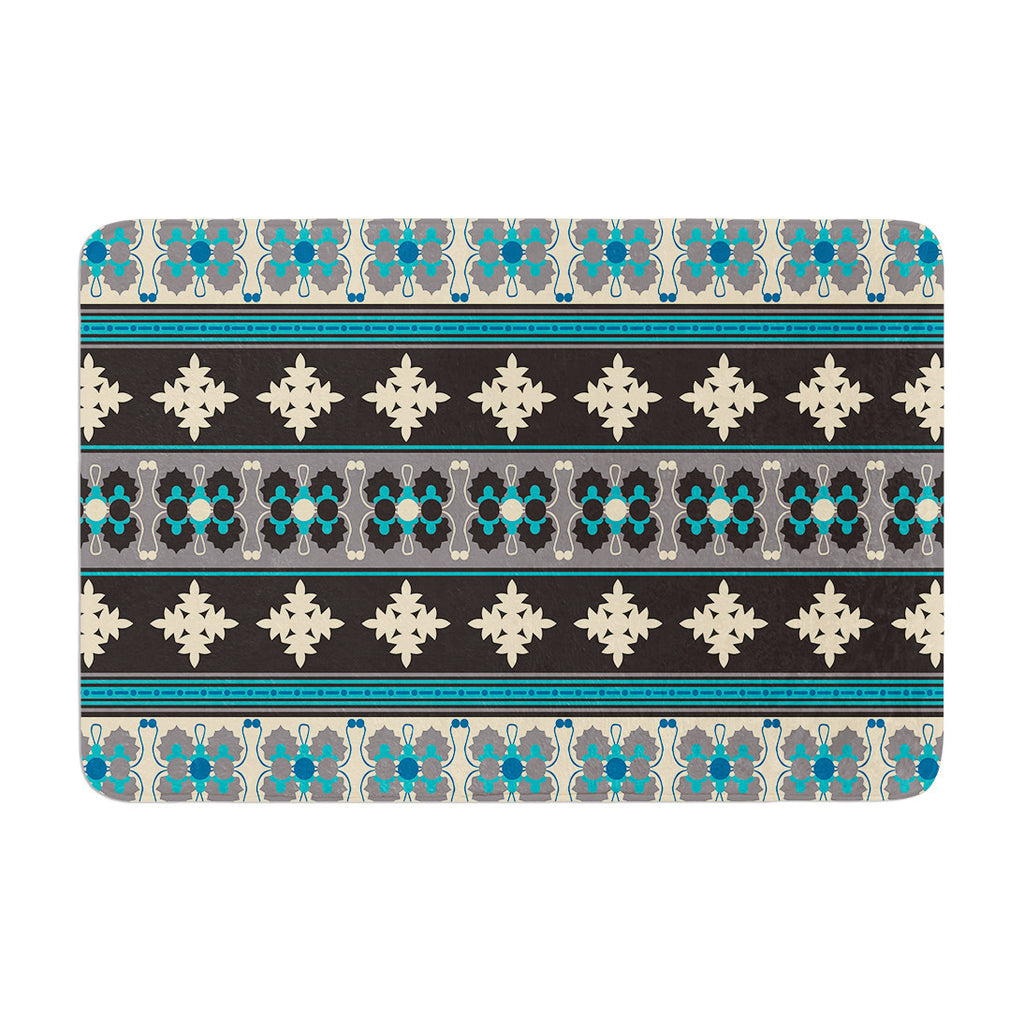"Nandita Singh ""Borders Blue"" Teal Yellow Memory Foam Bath Mat - KESS InHouse"