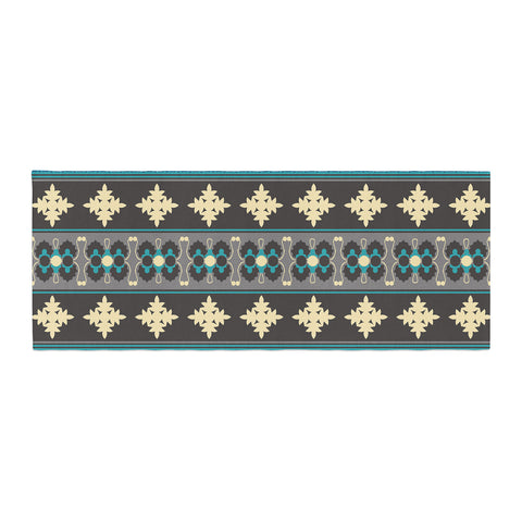 "Nandita Singh ""Borders Blue"" Teal Yellow Bed Runner - KESS InHouse"