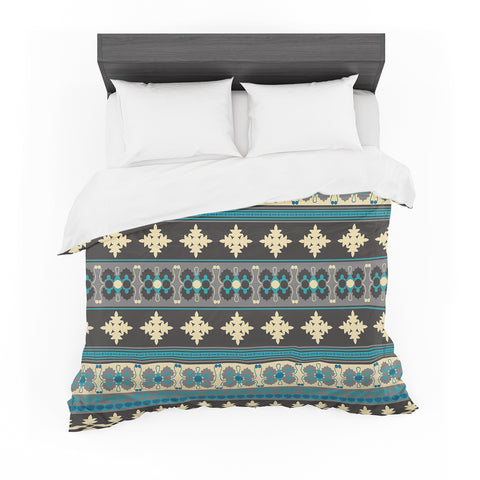 "Nandita Singh ""Borders Blue"" Teal Yellow Featherweight Duvet Cover"