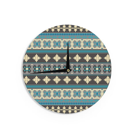 "Nandita Singh ""Borders Blue"" Teal Yellow Wall Clock - KESS InHouse"
