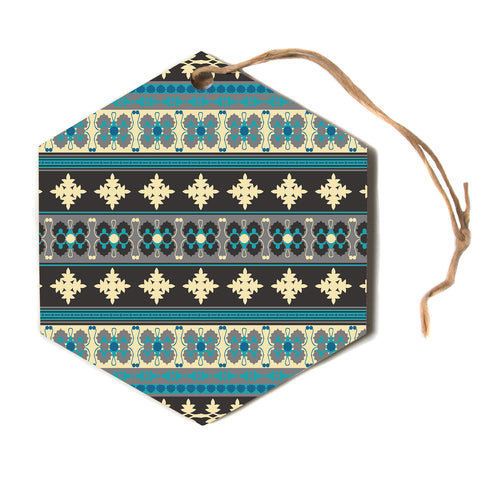 "Nandita Singh ""Borders Blue"" Teal Yellow Hexagon Holiday Ornament"