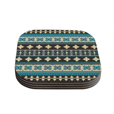 "Nandita Singh ""Borders Blue"" Teal Yellow Coasters (Set of 4)"