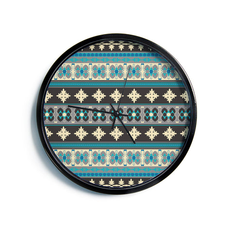 "Nandita Singh ""Borders Blue"" Teal Yellow Modern Wall Clock"