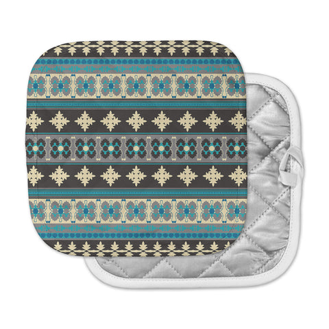 "Nandita Singh ""Borders Blue"" Teal Yellow Pot Holder"