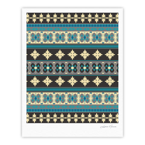 "Nandita Singh ""Borders Blue"" Teal Yellow Fine Art Gallery Print - KESS InHouse"