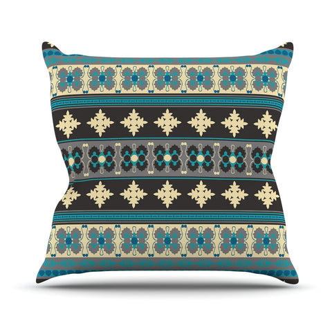"Nandita Singh ""Borders Blue"" Teal Yellow Outdoor Throw Pillow - KESS InHouse  - 1"