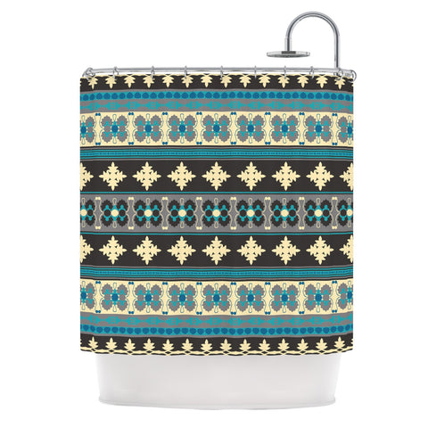 "Nandita Singh ""Borders Blue"" Teal Yellow Shower Curtain - KESS InHouse"