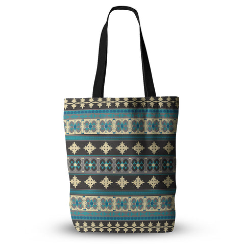 "Nandita Singh ""Borders Blue"" Teal Yellow Everything Tote Bag - KESS InHouse  - 1"