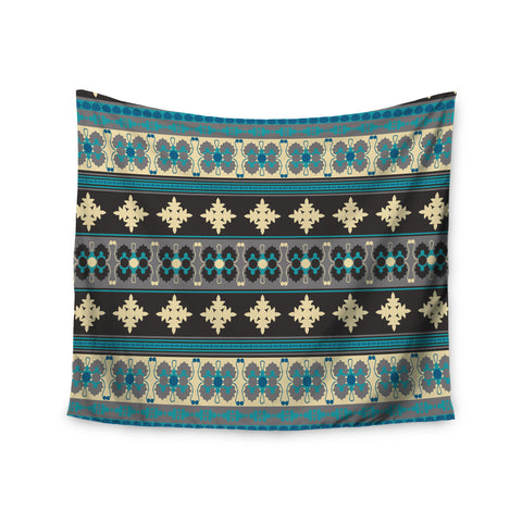 "Nandita Singh ""Borders Blue"" Teal Yellow Wall Tapestry - KESS InHouse  - 1"