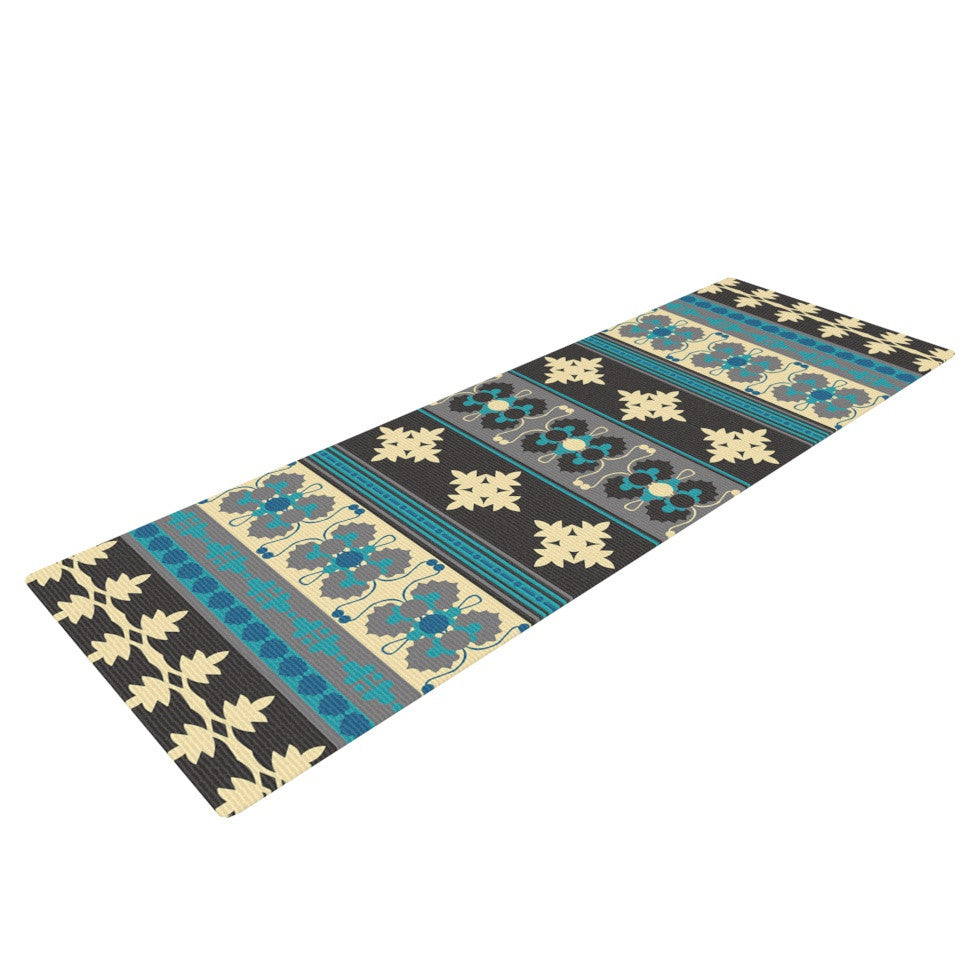 "Nandita Singh ""Borders Blue"" Teal Yellow Yoga Mat - KESS InHouse  - 1"