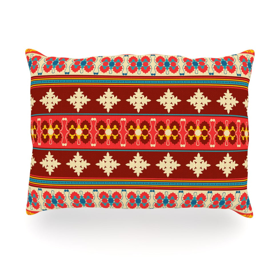 "Nandita Singh ""Borders Red"" Maroon Oblong Pillow - KESS InHouse"