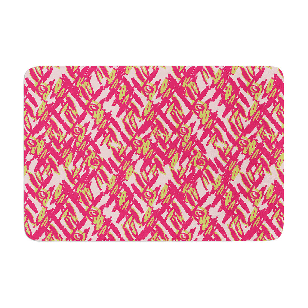 "Nandita Singh ""Abstract Print Pink"" Pink Red Memory Foam Bath Mat - KESS InHouse"