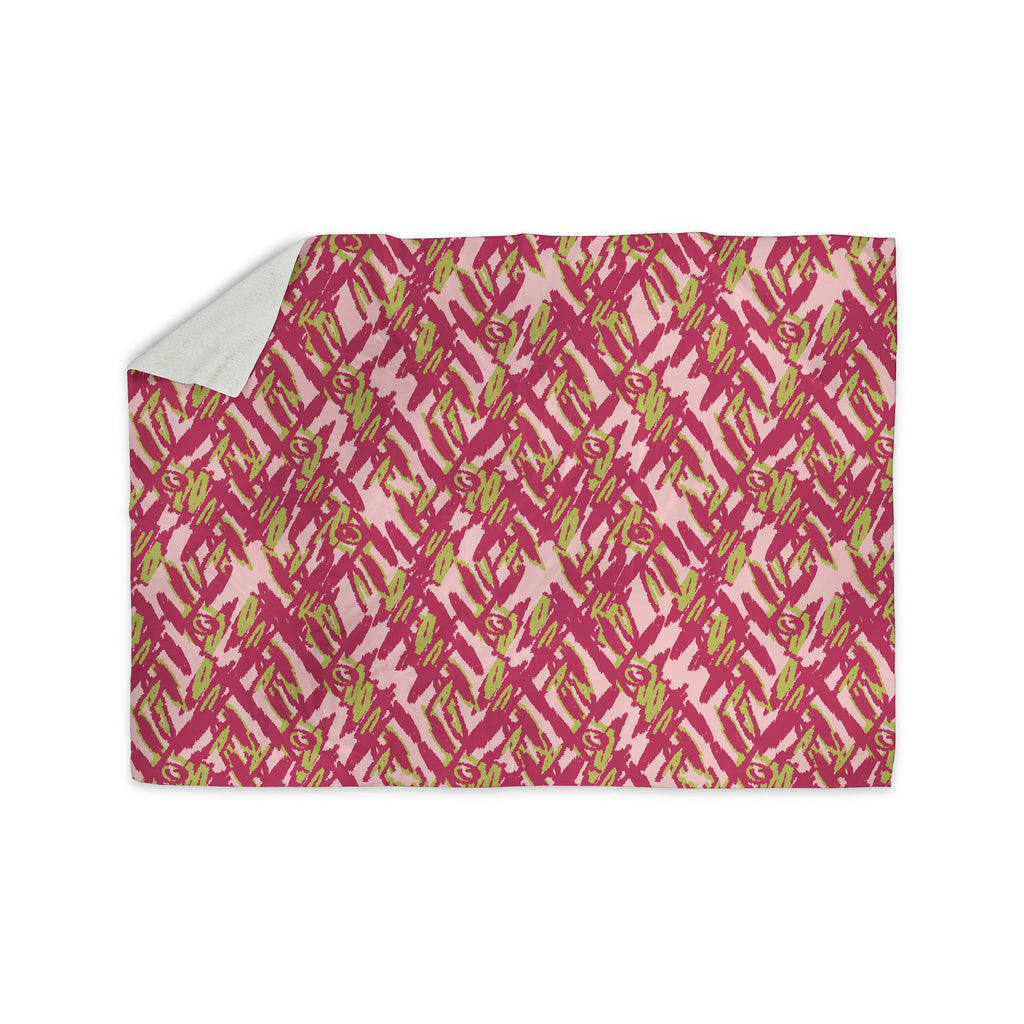 "Nandita Singh ""Abstract Print Pink"" Pink Red Sherpa Blanket - KESS InHouse  - 1"