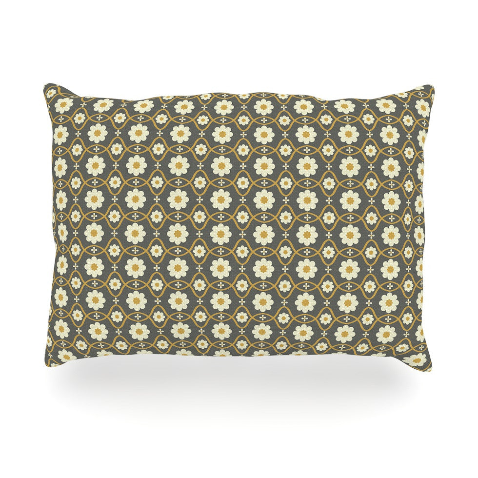 "Nandita Singh ""Floral Grey"" Brown Pattern Oblong Pillow - KESS InHouse"