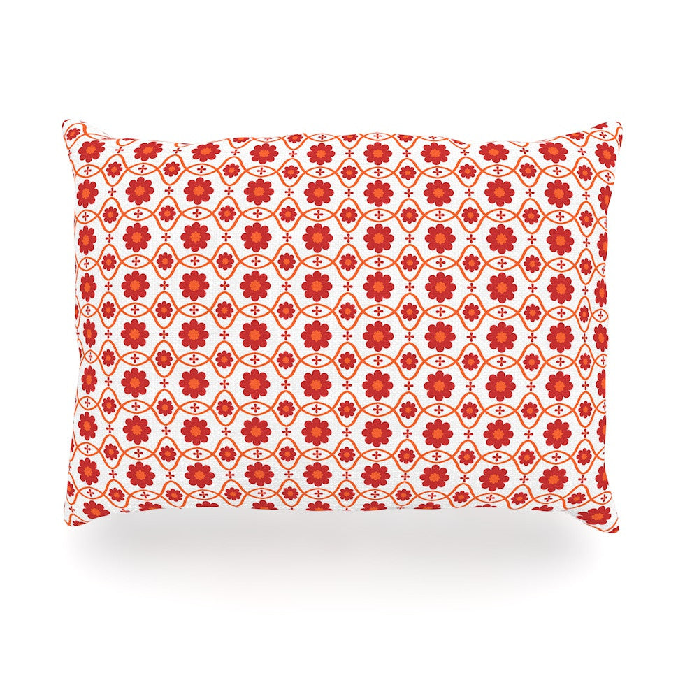 "Nandita Singh ""Foral Red"" Crimson Pattern Oblong Pillow - KESS InHouse"