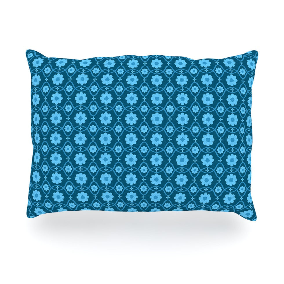 "Nandita Singh ""Floral Blue"" Aqua Pattern Oblong Pillow - KESS InHouse"