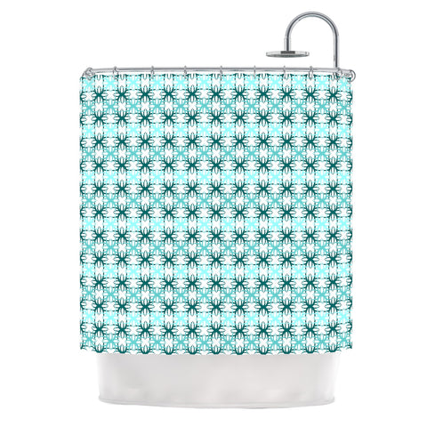 "Nandita Singh ""Blue Motifs"" Aqua Geometric Shower Curtain - Outlet Item - KESS InHouse"