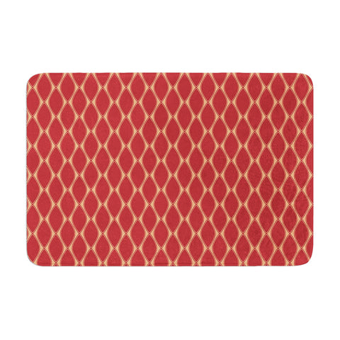 "Nandita Singh ""Marsala & Peach"" Red Pattern Memory Foam Bath Mat - Outlet Item"