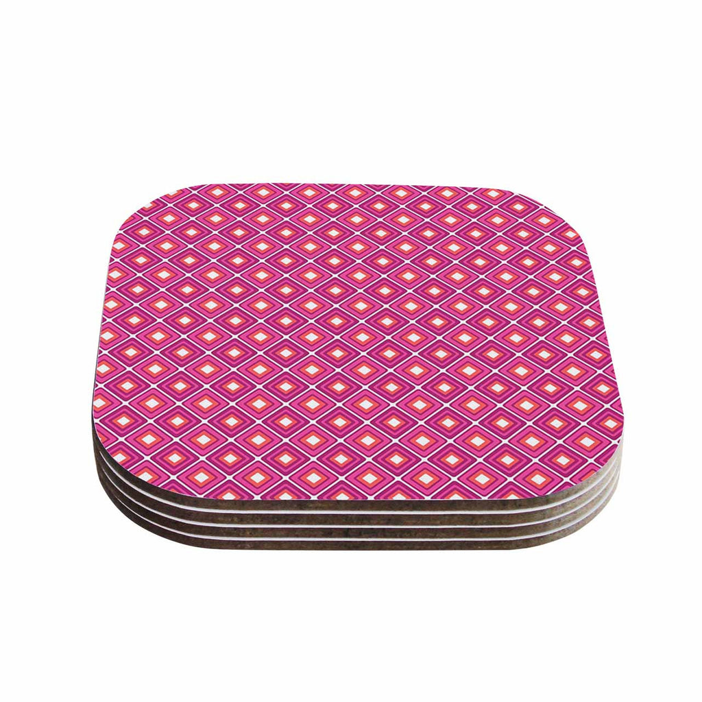 "Nandita Singh ""Bright Squares-Pink"" Pattern Coasters (Set of 4)"