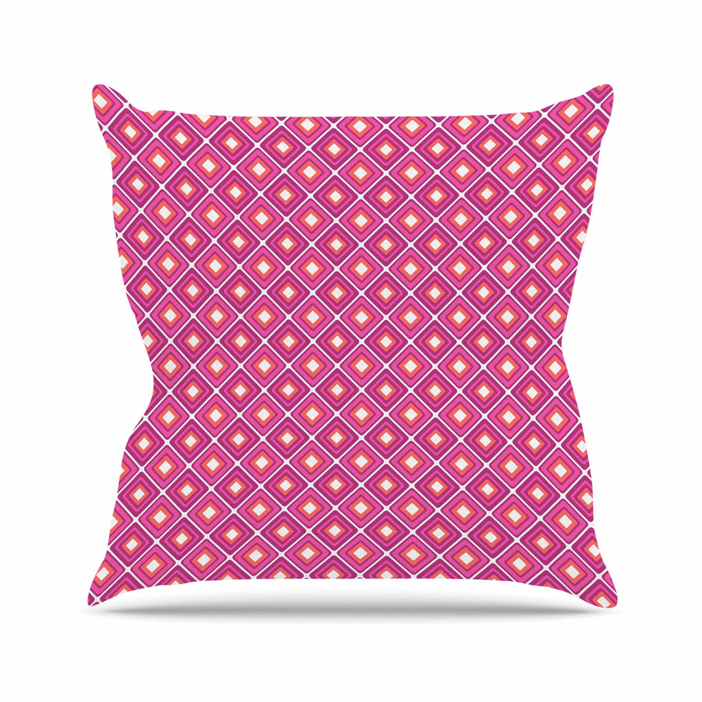 "Nandita Singh ""Bright Squares-Pink"" Pattern Outdoor Throw Pillow - KESS InHouse  - 1"