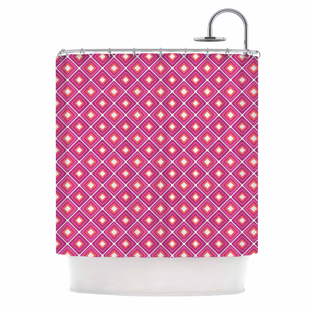 "Nandita Singh ""Bright Squares-Pink"" Pattern Shower Curtain - KESS InHouse"