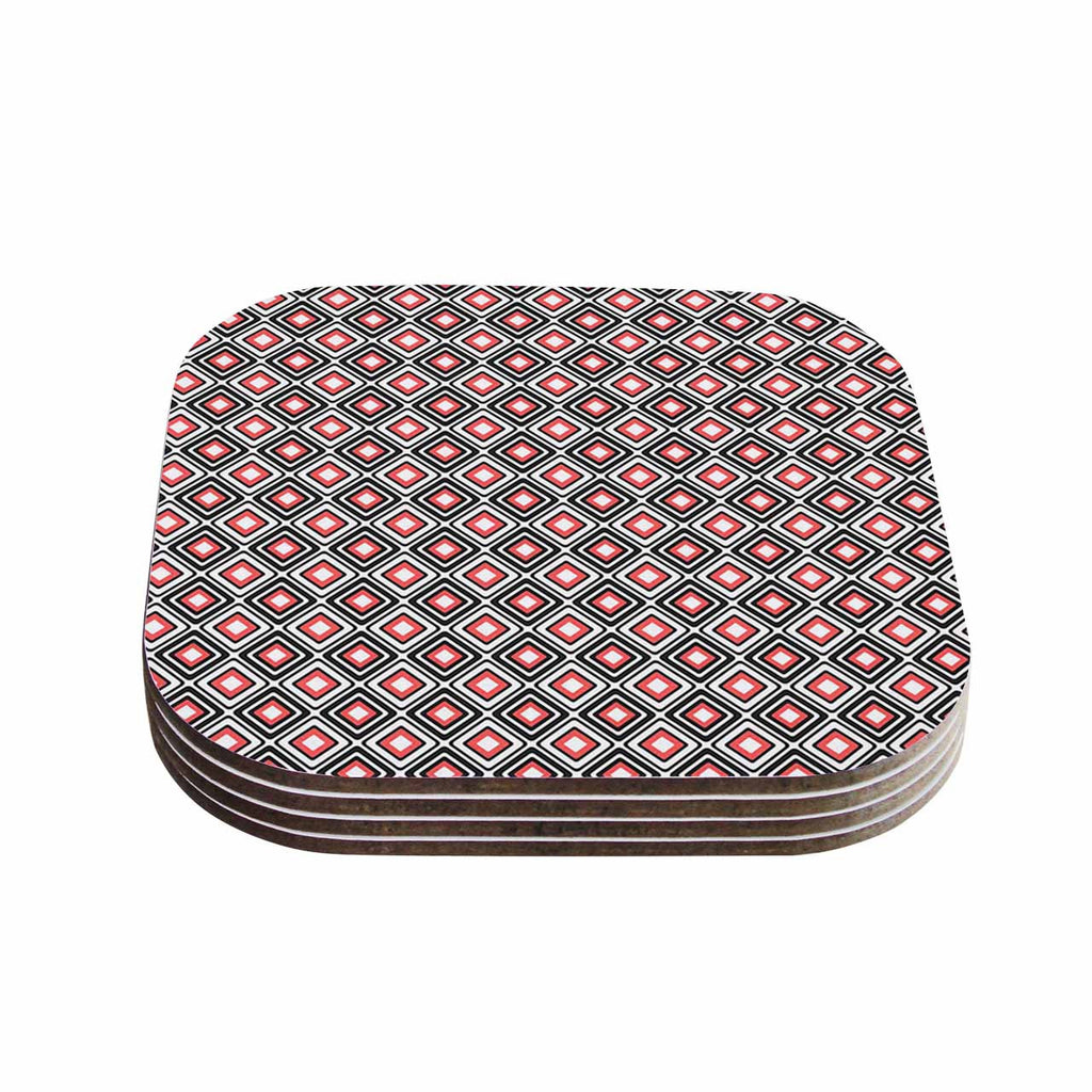 "Nandita Singh ""Bright Squares-Coral"" Black Pattern Coasters (Set of 4)"