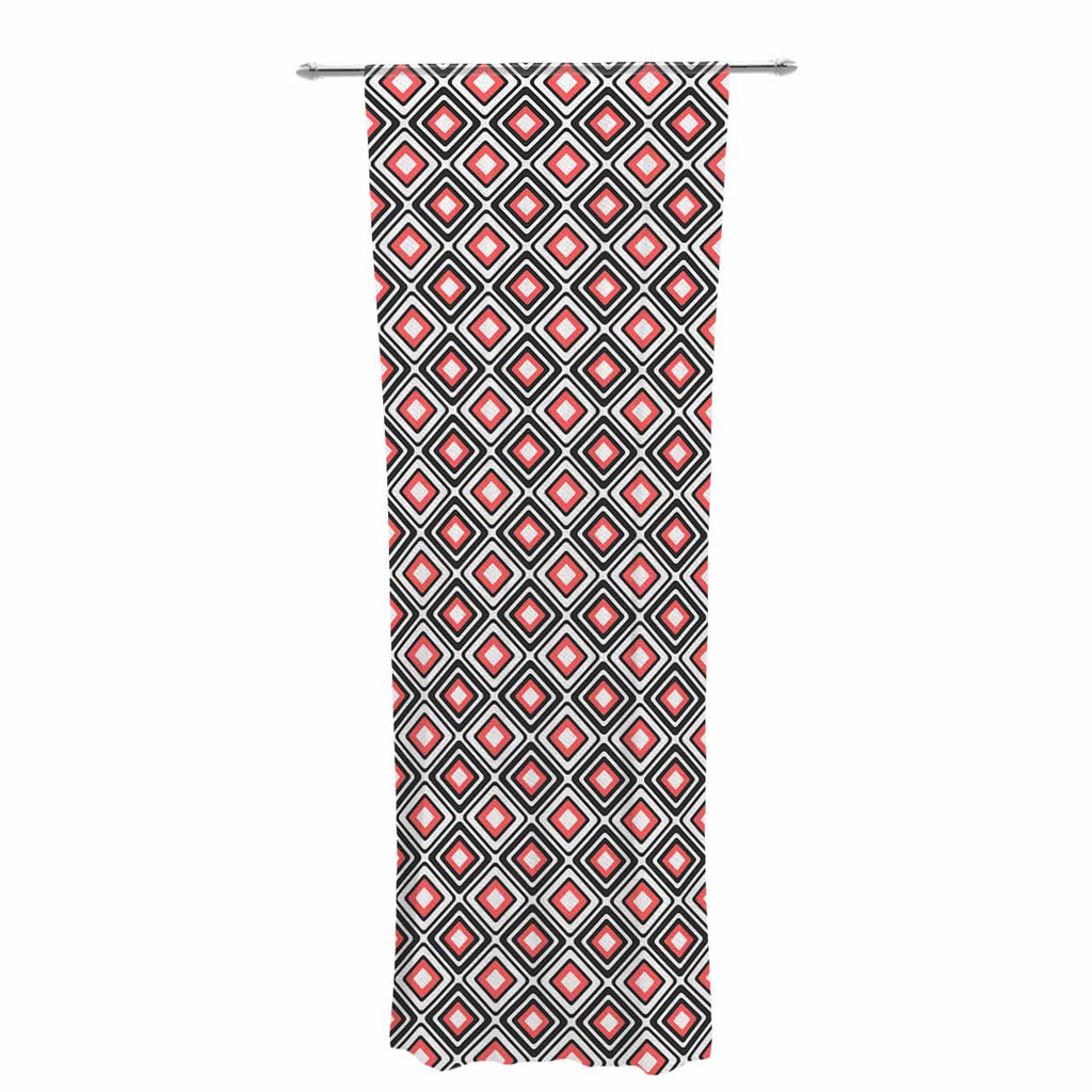 "Nandita Singh ""Bright Squares-Coral"" Black Pattern Decorative Sheer Curtain - KESS InHouse  - 1"