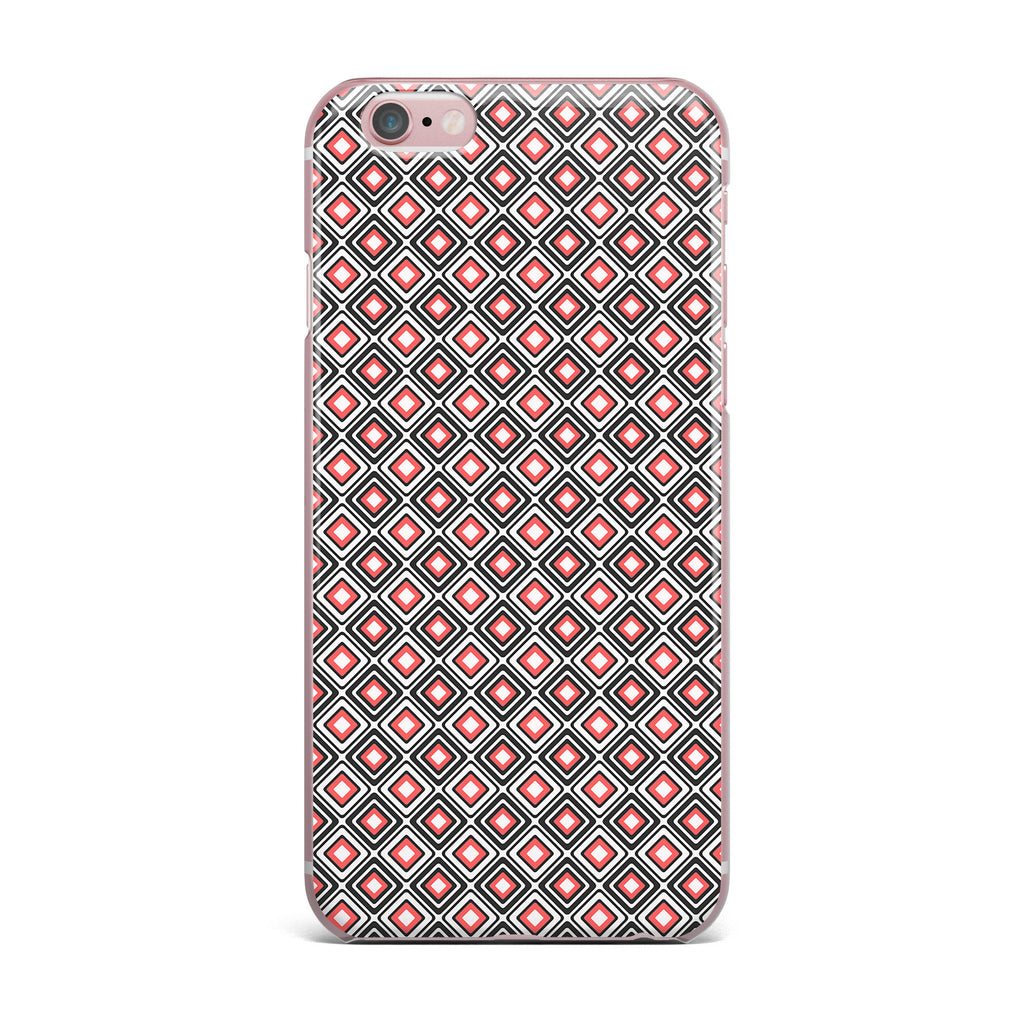 "Nandita Singh ""Bright Squares-Coral"" Black Pattern iPhone Case - KESS InHouse"