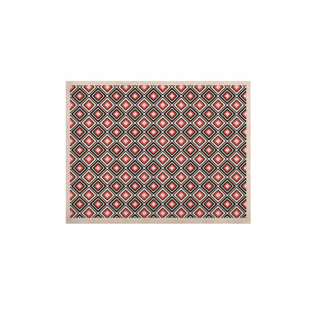 "Nandita Singh ""Bright Squares-Coral"" Black Pattern KESS Naturals Canvas (Frame not Included) - KESS InHouse  - 1"