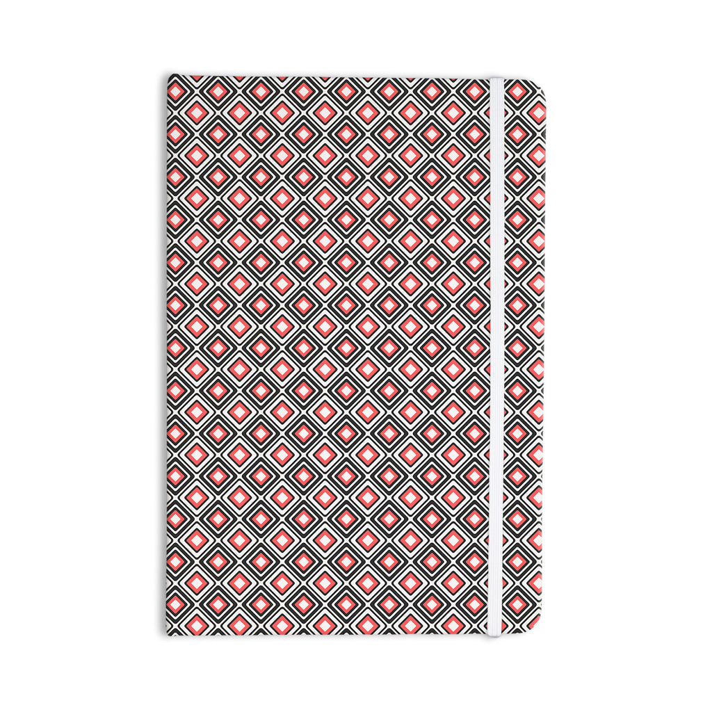 "Nandita Singh ""Bright Squares-Coral"" Black Pattern Everything Notebook - KESS InHouse  - 1"