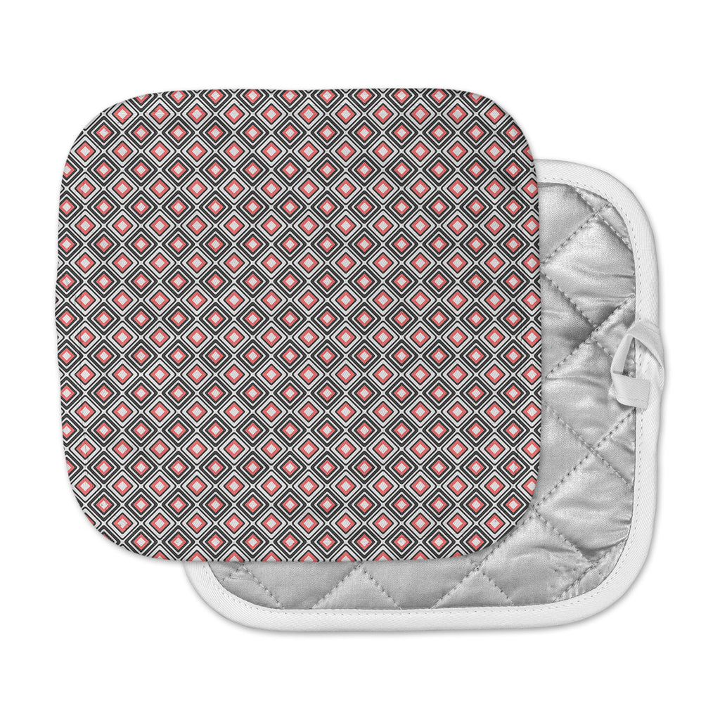 "Nandita Singh ""Bright Squares-Coral"" Black Pattern Pot Holder"