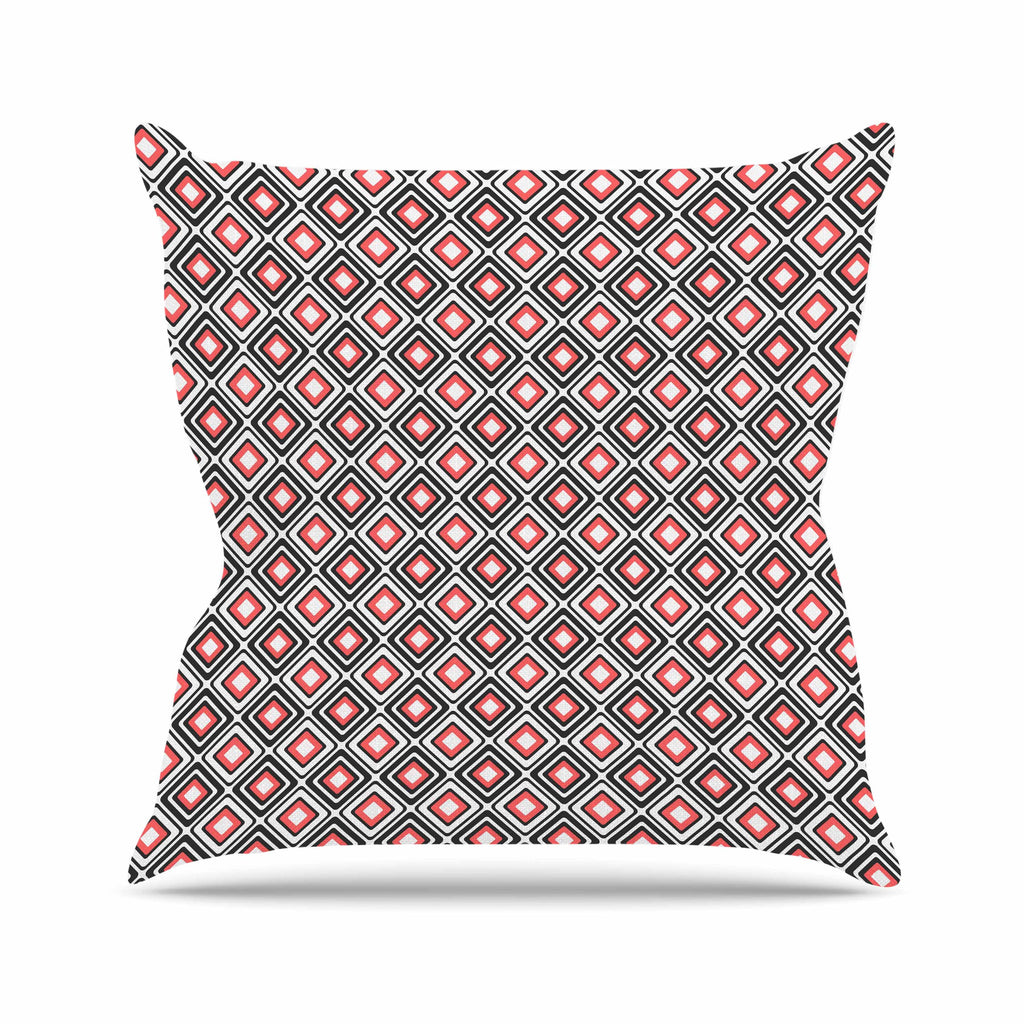 "Nandita Singh ""Bright Squares-Coral"" Black Pattern Outdoor Throw Pillow - KESS InHouse  - 1"