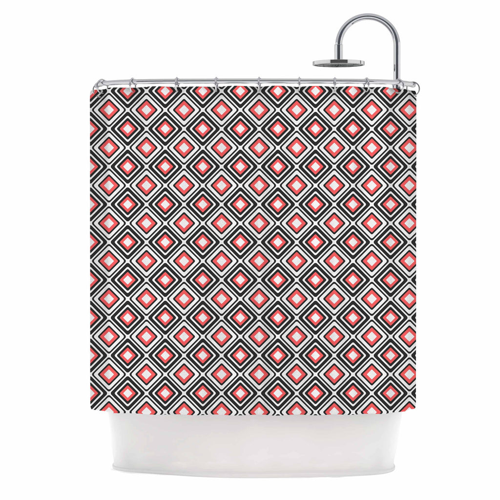 "Nandita Singh ""Bright Squares-Coral"" Black Pattern Shower Curtain - KESS InHouse"
