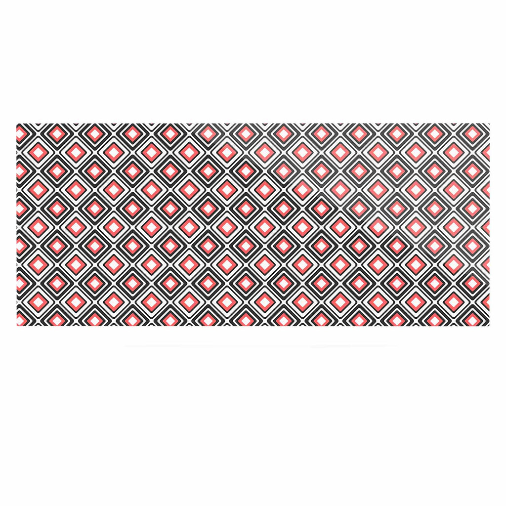 "Nandita Singh ""Bright Squares-Coral"" Black Pattern Luxe Rectangle Panel - KESS InHouse  - 1"